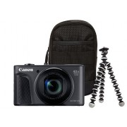 Aparat Foto Digital Canon PowerShot SX730 HS, 20.3 MP, Filmare Full HD, Zoom optic 40x (Negru) + Trepied + Husa