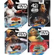 Hot wheels Star Wars Alien Creatures / Jawa Vehicle / Jabba The Hutt / Admiral Ackbar Chewbacca Wookie Character Cars 4-Pack