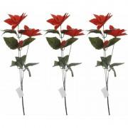 Bellatio Decorations 3x Rode Kerstster bloem 66 cm