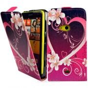 Nokia Lumia 625 Love Heart Flip Калъф + Протектор