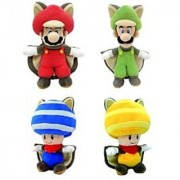 Little Buddy Set of 4 Super Mario Plush Doll - Flying Squirrel Mario Flying Squirrel Luigi Flying Blue Toad & Flying Yellow Toad by Little Buddy