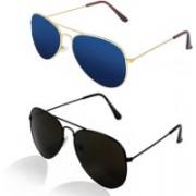 SP Aviator Sunglasses(Black, Blue)