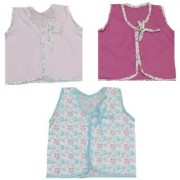 Krivi Kids Set of 3 Front Open Sleeveless Top For New Born Baby 0-3 Months.