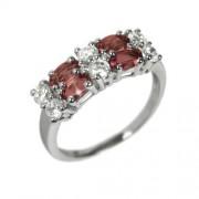 Silvego Dámský prsten s přírodním Granátem a zirkony RSG36087G - RSG36087G