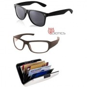 Ediotics Classic Black Wayfarer & Transparent Night Driving Sunglasses & Alumi Wallet Combo