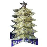 3D adventskalender A4+ met envelop - om neer te zetten- kerstboom goud