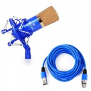 Auna CM001BG Micrófono condensador de estudio XLR azul/oro (HKMIC-CM 001 BG)