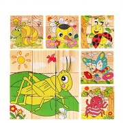 VolksRose 9 Pcs Wooden Cube Block Jigsaw Puzzles - Insect World Pattern Blocks Puzzle for Child 3 Year and Up