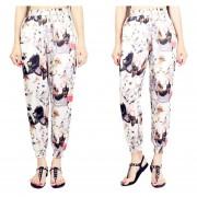 Suelto Pantalones De Pierna Ancha /harén Con Bolsillos Estampado Floral -Gato