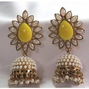 Aashiqui 2 earrings yellow polki pearls jhumka earrings
