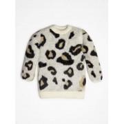Guess Sweter Ze Sztucznym Futrem W Zwierzęcy Print