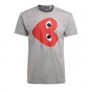 Comme des Garçons Play T-Shirt Comme Des Garçons PLAY grigia con cuore rosso orizzontale