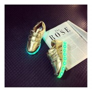 Kids Boys Girls LED Luminous Shoes Fashion Flashing USB Rechargeable Sneakers Gold