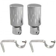 Hans Enterprise Silver Set of 2 Stainless Steel Single Curtain Rod Bracket pack of 4
