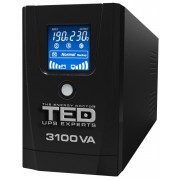 UPS TED Electric 3100VA / 1800W Line Interactive cu 3 iesiri schuko si display LCD TED-3100