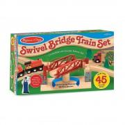 Дървена влакова композиция с мост 47 части