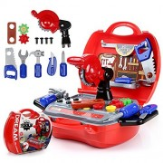Kids Tool Set, Tool Box Toy Set, Construction Tools Toy for Boys with 19 pcs Pretend Play Construction Accessories by Ricdecor (Construction Tools)