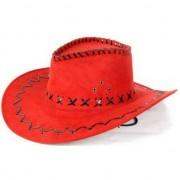 Merkloos Rode lederlook cowboyhoed