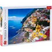 Puzzle peisaj si cladiri de pe malul marii Mediterane in Italia 500 piese