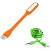 (Tricolor combo No 16) 1 pcs LED Light 1pc Aux Cable by KSJ Accessories