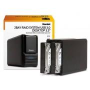"Hamlet Box Esterno per 2 Hard Disk SATA I II 3.5"" USB 3.0 Modalità RAID Nero"