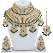 Lucky Jewellery Traditional Green Color Gold Plating Kundan Fabulous Padmavati Bridal Necklace Set For Girls & Women