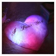 EH Relleno felpa Corazón forma LED Luces Colorful Music Corazón Luz Pillow regalo (Púrpura)