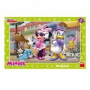 Puzzle - Minnie si Daisy la plimbare 15 piese