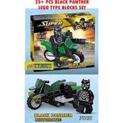 Toy-Station - Super Hero Lego Type Blocks (Black Panther Motorcycle)