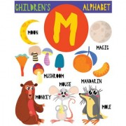 children M alphabet chart Alphabets and numbers Educational Poster for Kids Learning wall sticker paper poster