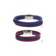 La Bottega del Calzolaio Bracciale in cuoio bicolore rosso e blu