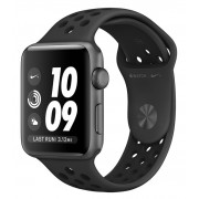 Watch, Apple Nike+ Series 3 GPS, 38mm Space Grey Aluminium Case with Anthracite/Black Nike Sport Band (MTF12MP/A)