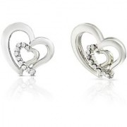 Mahi Rhodium Plated White Heart Earrings Made With Swarovski Elements For Women Er1194117Rwhi