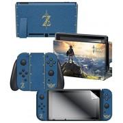 "Controller Gear The Legend of Zelda Breath of the Wild ""The Legend of Zelda"" Nintendo Switch Console Skin + Dock Skin + Joy-Con Grip Skin + Screen Protector Bundle Assortment Nintendo Switch"