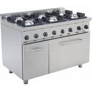 Saro Cuisinière Gaz sur Four Électrique 6 Feux 400V 1200x700x850(h)mm