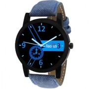 Radius Round Analog Blue Leather Men's Quartz Watch-R-4