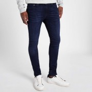River Island Mens Dark Blue Danny super skinny stretch jeans (Size 34 regular)