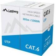 Кабел, Lanberg LAN cable UTP CAT.6 305m solid CCA, Сив, LCU6-10CC-0305-S