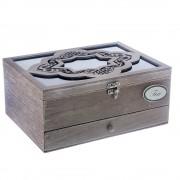 Cutie model vintage de ceai din lemn cu sertar