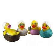 "DUCKY CITY 3"" Spa Assortment Rubber Ducks (4) - Imaginative Baby Toddler Safe Bathtub Bathing Toy"