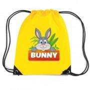Shoppartners Bunny het Konijn rugtas / gymtas geel voor kinderen