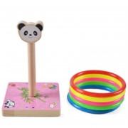 Kindergarten Niños Madera Panda Animal Lanzando Ring Toss Juegos Actividades Juguetes, Tamaño: 9 * 9 * 14.7cm