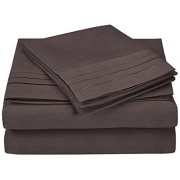 Luxor Treasures Super Soft, 100% Brushed Microfiber, Wrinkle Resistant, 4-Piece Bed Sheet Set with Embroidery in Gift Box, charcoal, Twin