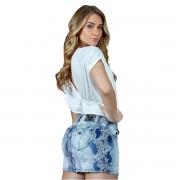 Mini Saia Caccau Jeans Azul Claro