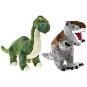 "DINOSAUR ANIMAL PLANET - Set of 2 Plush toys ""Brontosaurus"" and ""Tyrannosaurus Rex"" Dinosaurs of the TV program - Quality Super Soft"