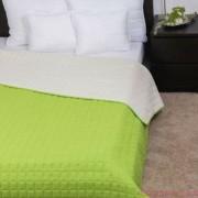 LAURA zöld-törtfehér ágytakaró 235x250 cm