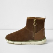 River Island Womens Tan suede faux fur lined sporty boots