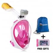 Titan Masca Snorkeling Full-Face Siliber Alb/Roz cu Suport GoPro Marime S/M cod 2501