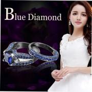 Anillo De Diamantes De La Sra Chapado En Negro Azul Marino Del Diamante Nueve Yardas-Azul E-ibuybuybuy
