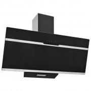 vidaXL Стенен абсорбатор, 90 см, инокс и закалено стъкло, черен